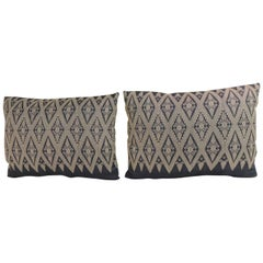 Pair of Vintage Asian Silk Woven Diamonds Bolster Pillows
