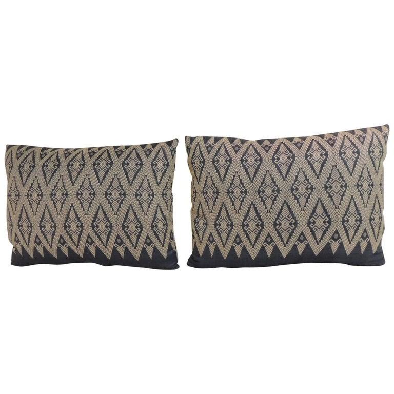 Pair of Vintage Asian Silk Woven Diamonds Bolster Pillows