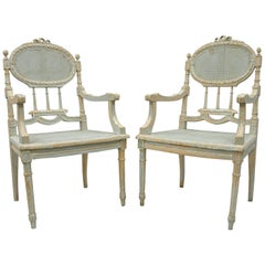 Pair of French Louis XVI Style Blue Distress Painted Parlor or Salon Armchairs