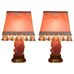 Pair of Pink Alabaster Lamps with Custom Shades, 20th Century