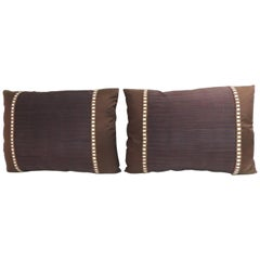 Pair of Vintage Brown and Purple Obi Woven Textile Bolster Decorative Pillows