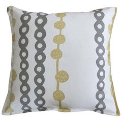 Putty Ball and Chain on Oyster Cotton Linen Pillow