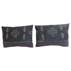 Pair of Vintage Asian Hand-Blocked Bolster Decorative Pillows