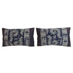 Pair of Vintage Indigo and White Hand-blocked Batik Lumbar Accent Pillows
