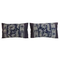 Pair of Vintage Indigo and White Hand-blocked Batik Lumbar Accent Pillows