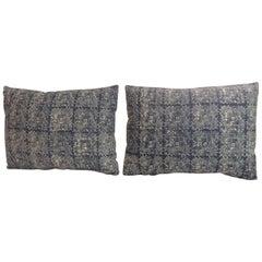 Pair of Asian Hand-Blocked Artisanal Batik Decorative Bolster Pillows