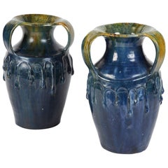 Pair of Blue Art Nouveau Vases from England Circa 1910