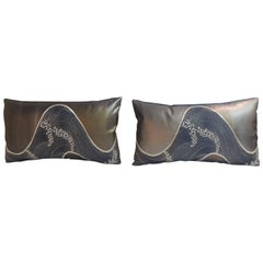 Pair of Silver and Blue Obi Lumbar Decorative Pillows