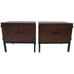 Milo Baughman Walnut Nightstands for Directional