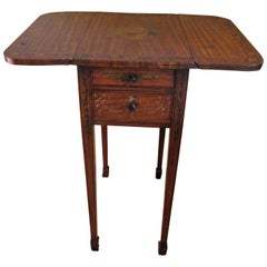 Small Drop-Leaf Table with Two Drawers Hand-Painted Floral Border, 20th Century