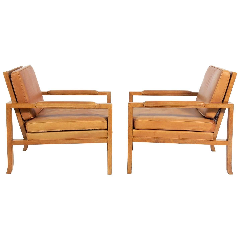 pair of caned back burl wood lounge chairs in original saddle rh 1stdibs com Burlwood Jewelry Box Burlwood Grandfather Clocks