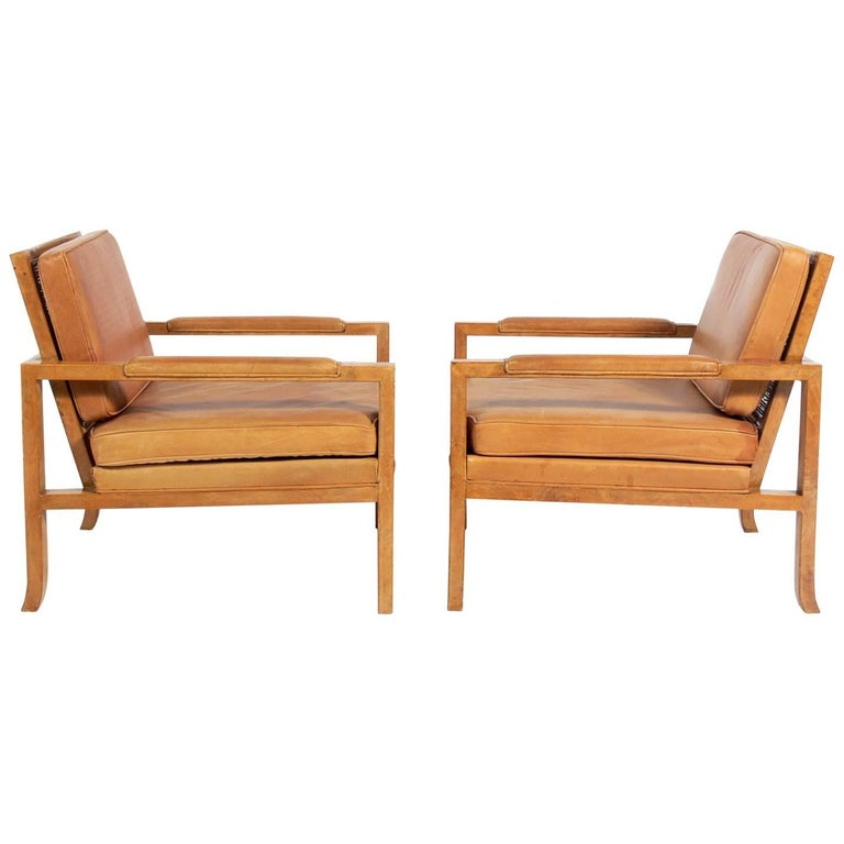 Pair of Caned Back Burl Wood Lounge Chairs in Original Saddle Leather