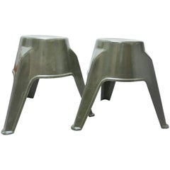 Pair of Mid-Century Modern Stools in Green Fiberglass
