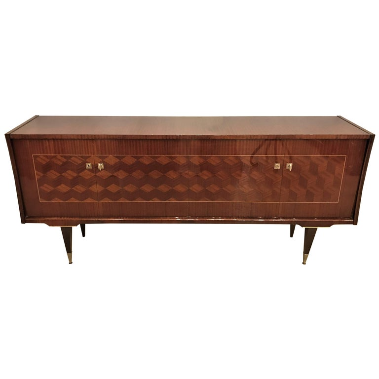 Art Deco Macassar and Rosewood Sideboard Buffett Cabinet