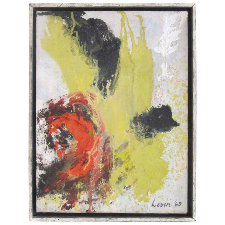 Bold American 1960s Abstract Oil on Canvas; Signed 'Levin '65'