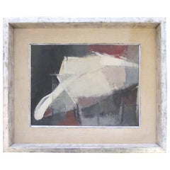 Moody American 1960s Oil Abstract Painting of a Man with a Hat; Signed