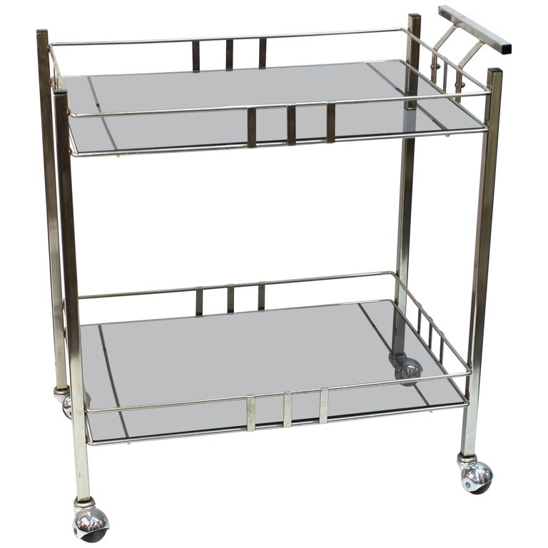 Modernist Chrome and Glass Bar Cart