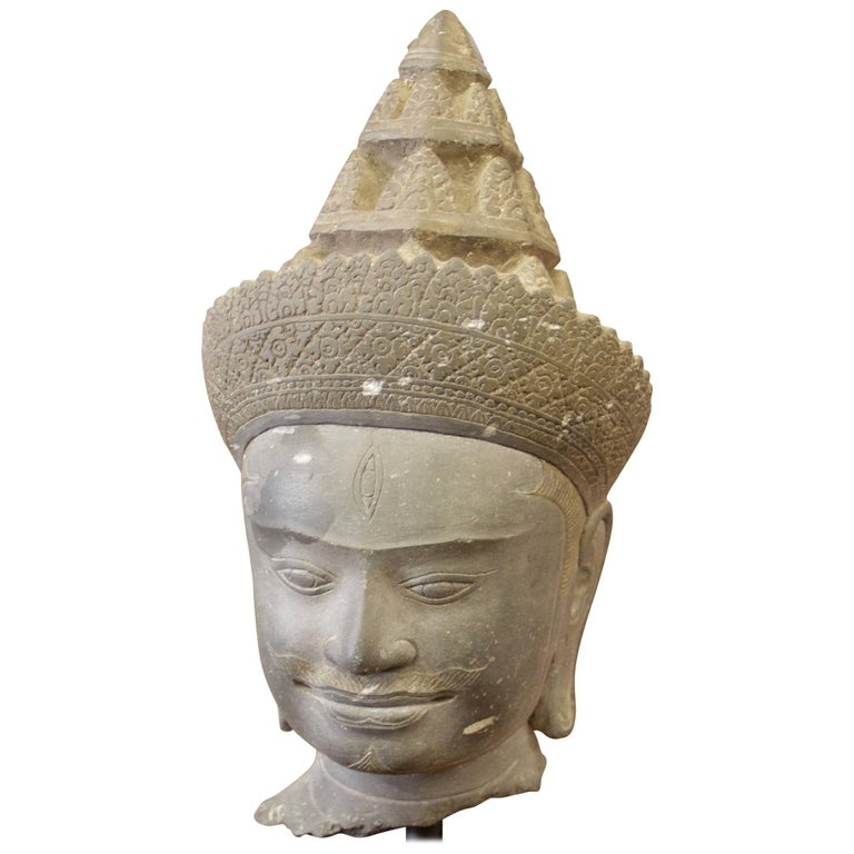 Khmer Empire Head of Divinity Sandstone Sculpture Cambodia