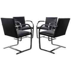 Set of Four Black Leather Brno Chairs for Knoll