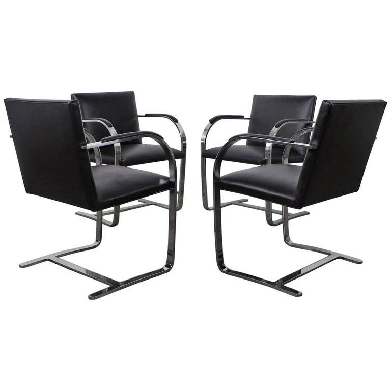 Set of Four Black Leather Brno Chairs for Knoll For Sale