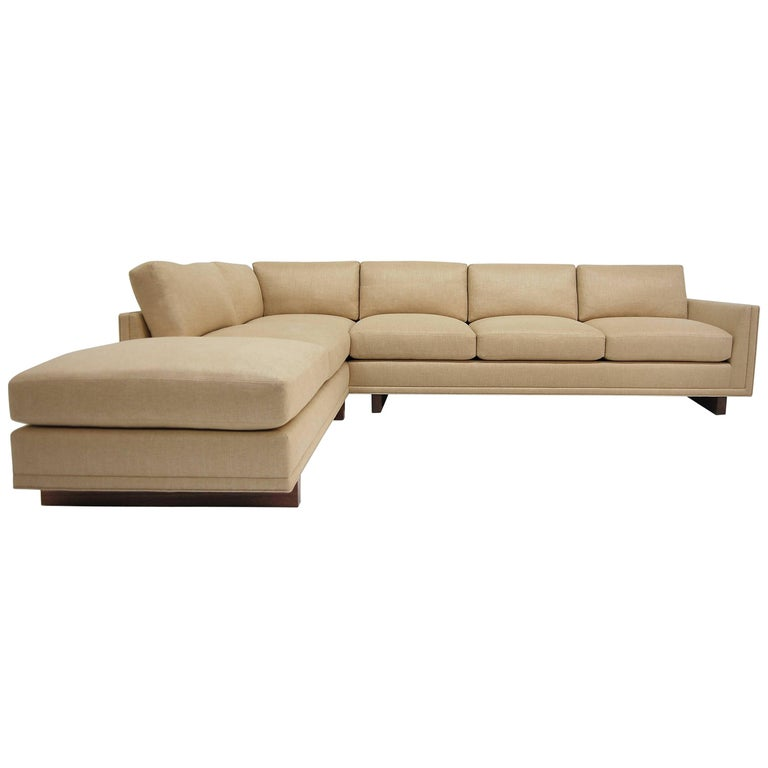 Dawson Sectional Walnut base Frame Trim detail loose seat & back cushions piping For Sale
