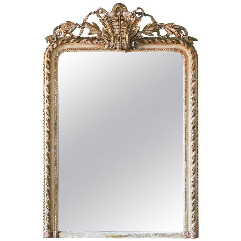 Antique Mirror in Light Gilt and Distressed White Finish