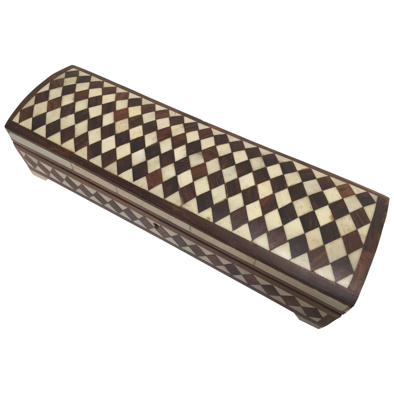 Vizagapatam Anglo-Indian Rectangular Box Inlaid with Bone and Sandalwood