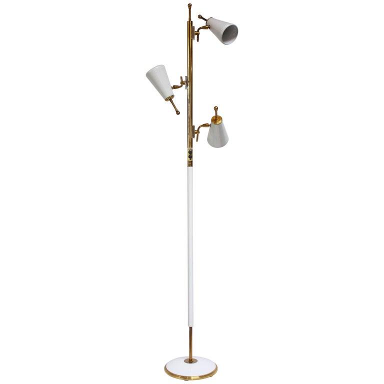 1950s Stiffel Brass and Metal Three-Fixture Floor Lamp