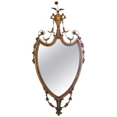 Gold Mirror with a Decorative Basket of Flowers at Top, 20th Century