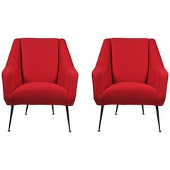 1950s Pair of Italian Armchairs by Cassina
