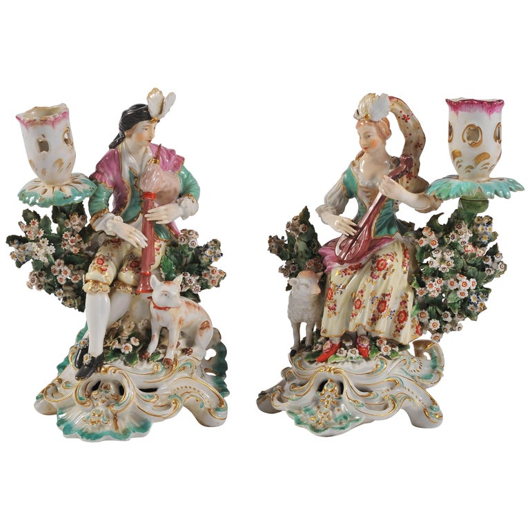 Pair of Meissen Figurines with Candleholders, Boy and Girl Bright Colors