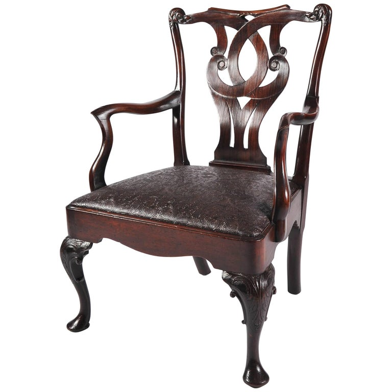 Mid-18th Century Chinese Open Armchair in the English Style with Cabriole Legs