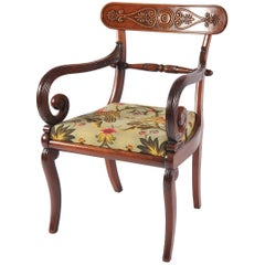 Mahogany Desk Chair, French Empire Period, Cabriole Legs, Early 19th Century