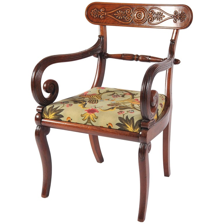French Empire Period Mahogany Open Arm or Desk Chair, Early 19th Century