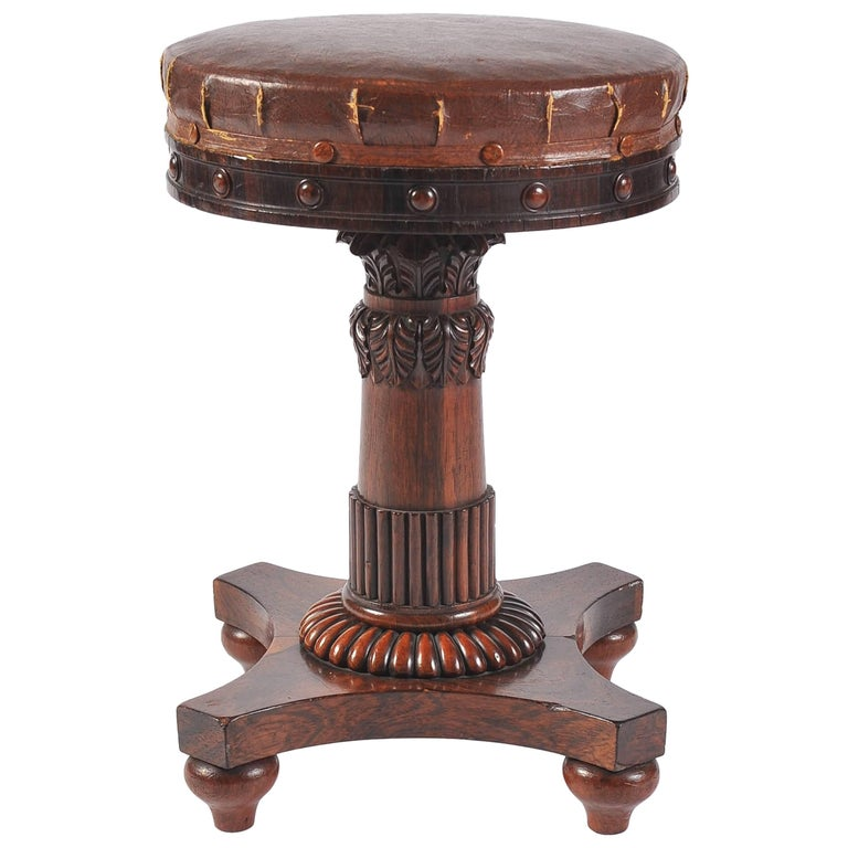 Early 19th Century Regency Period Carved Rosewood Rising Music Stool, Rich Brown