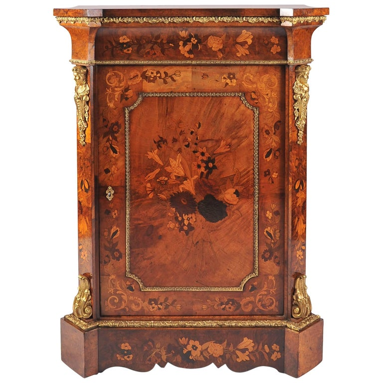 Mid-19th Century English Walnut and Marquetry Side Cabinet with Giltmetal Mounts