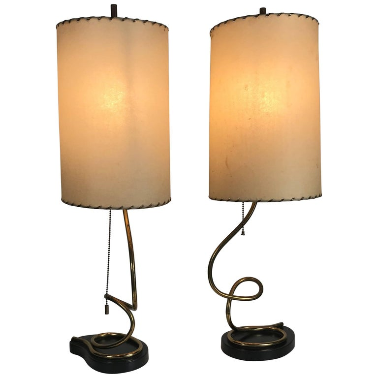 Unusual Pair of Majestic Brass, Metal and Parchment Table Lamps For Sale