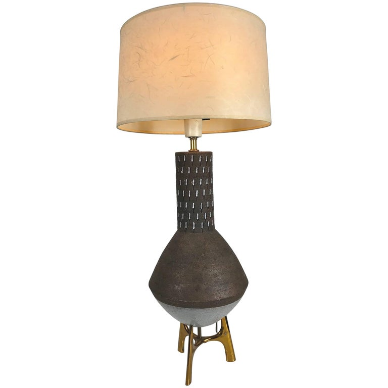 Elusive Lightolier Ceramic and Brass Table Lamp, Italian Pottery