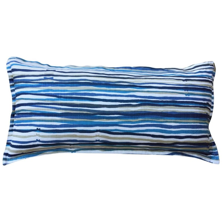 Sea Stripe on Oyster Cotton Linen Pillow For Sale