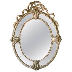 Antique Oval Mirror with Original Mercury Glass