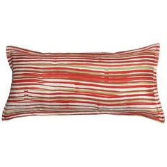 Cayenne Stripe on Wheat Cotton Linen Pillow