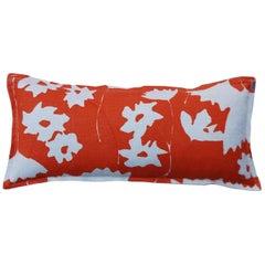 Pumpkin Cosmos on Wheat Cotton Linen Pillow