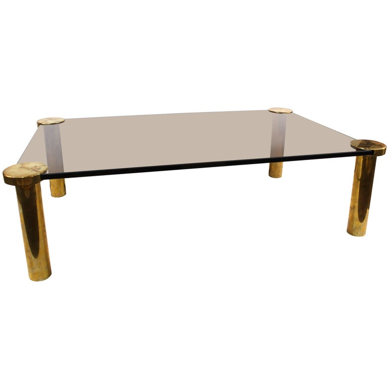 Modern Cocktail Table in Glass and Brass
