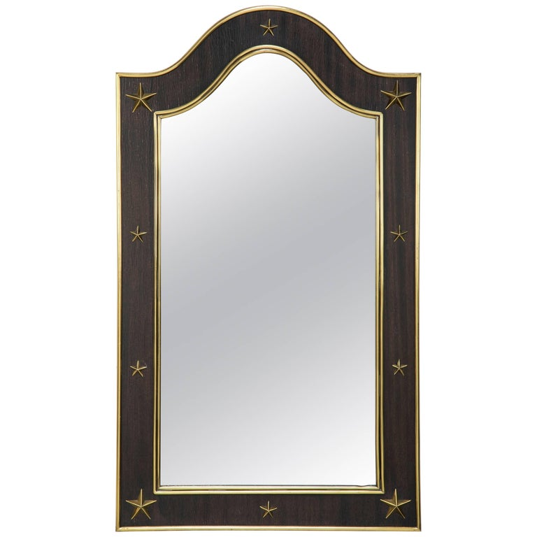 Jacques Adnet Wood and Brass Mirror with Brass Stars