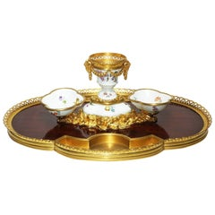 French 19th Century Louis XV Style Gilt-Bronze Encrier Inkwell by Boin Taburet