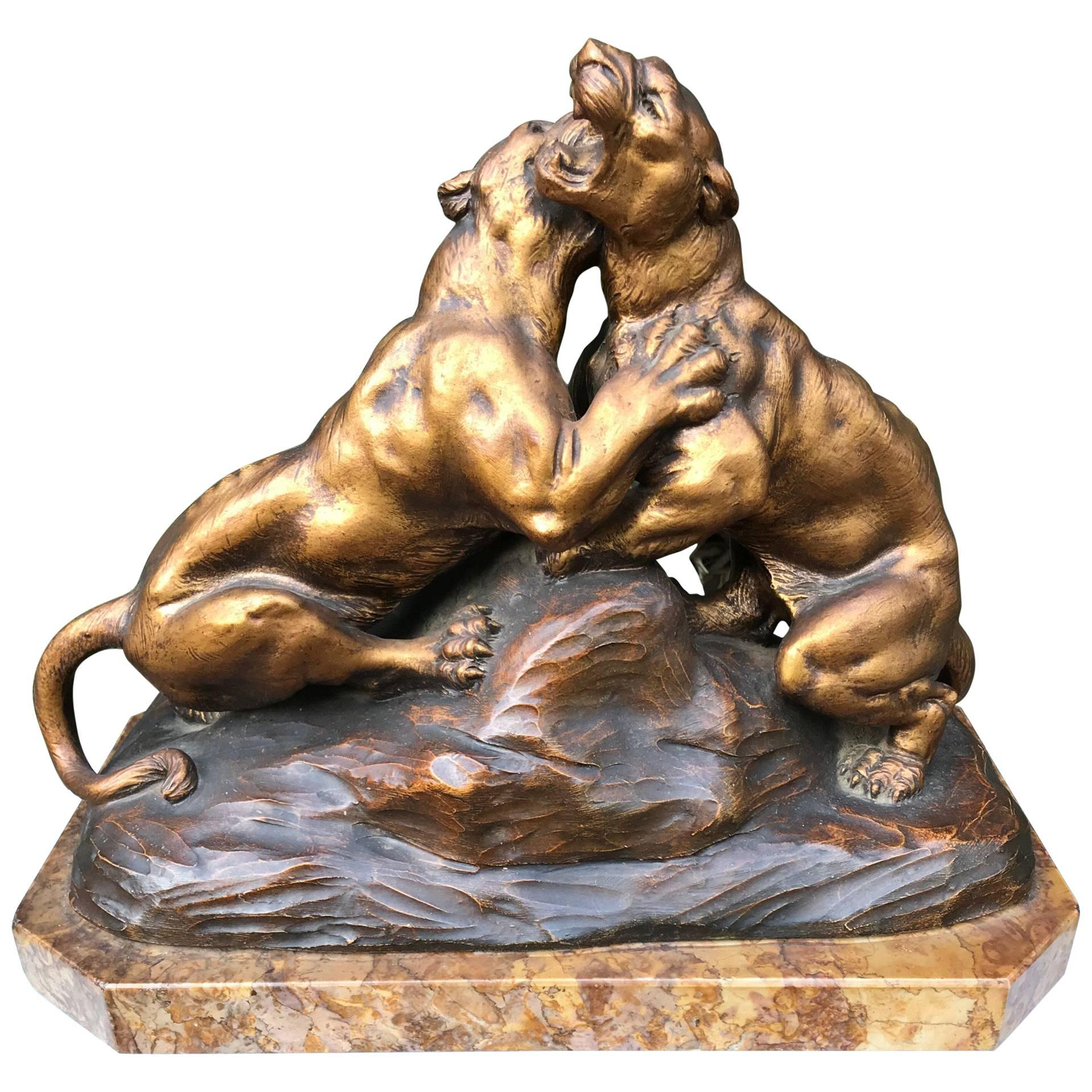Early 1900 Terracotta Sculpture of Fighting Panthers on a Marble Base by Fagotto