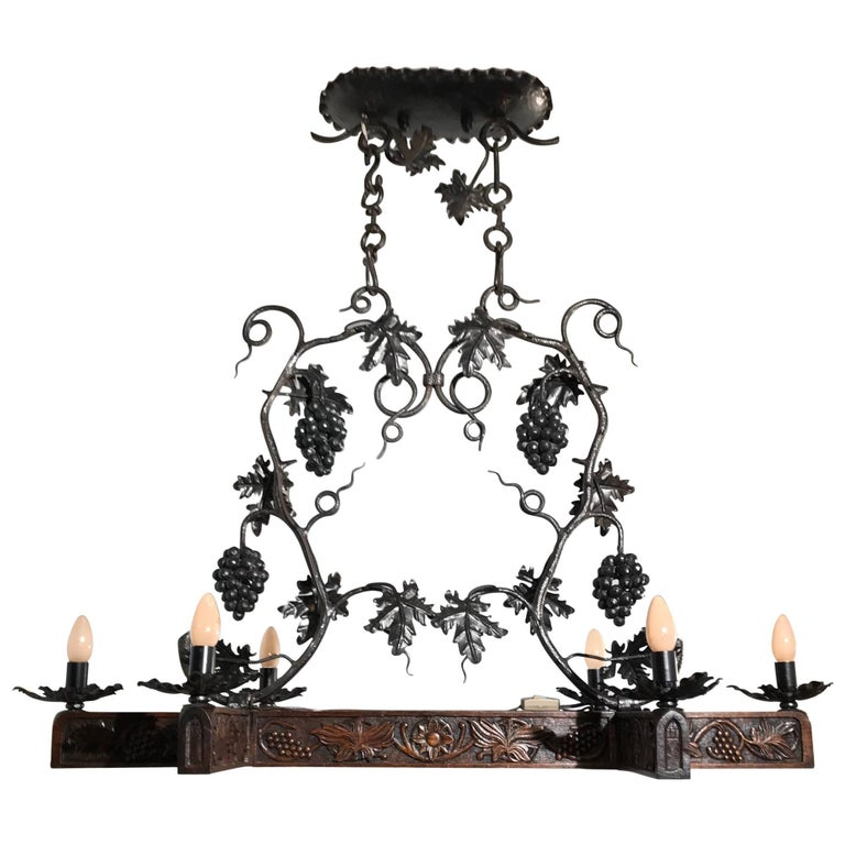 Stunning & Large Wrought Iron Chandelier with Grapes & Hand-Carved Branches