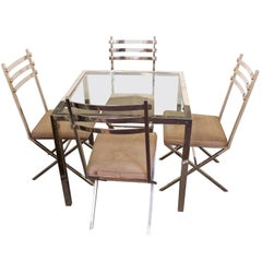 Mid-Century Chrome Chairs and Table in Style of Milo Baughman