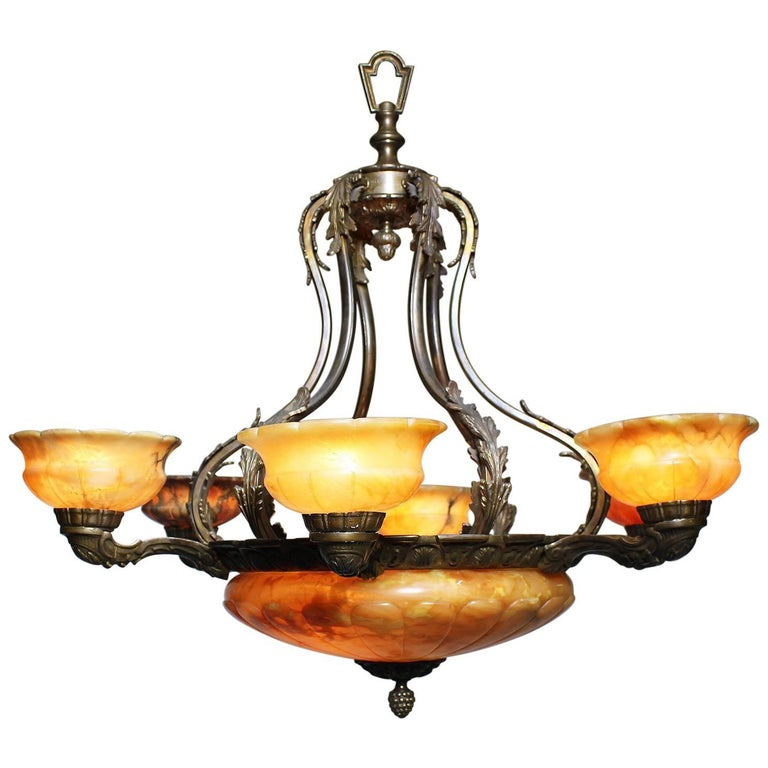 French 20th Century Art Deco Silvered Bronze and Alabaster Six-Light Chandelier