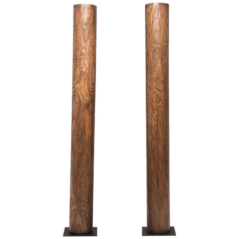 Pair of Early 20th Century Chinese Crazed Columns For Sale